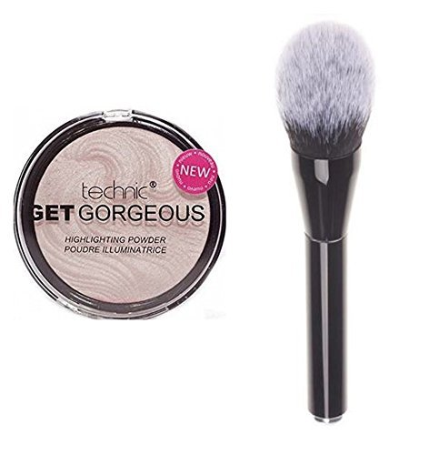 Technic Get Gorgeous Highlighting Powder 12g + LyDia Black Large Fluffy Flawless Face Makeup Brush by LyDia