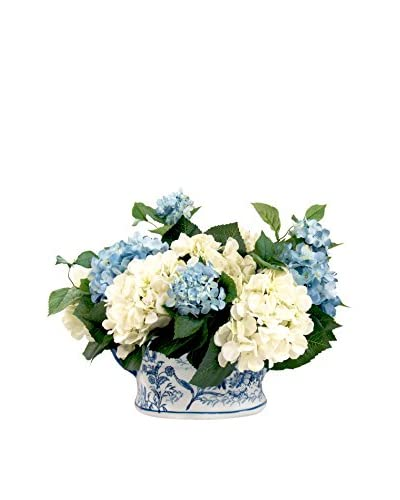 Creative Displays Inc. Hydrangea Cache Pot, White/Green/Blue