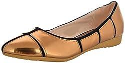 Smitten Womens Bronze PU Loafers - 4 UK