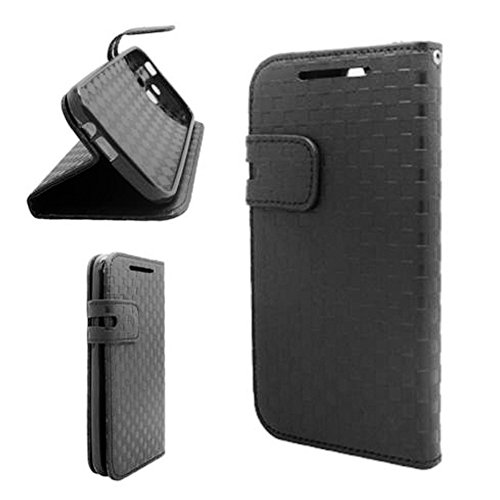 Mylife (Tm) Onyx Black Weave Pattern {Professional Design} Faux Leather (Card, Cash And Id Holder + Magnetic Closing) Slim Wallet For The All-New Htc One M8 Android Smartphone - Aka, 2Nd Gen Htc One (External Textured Synthetic Leather With Magnetic Clip