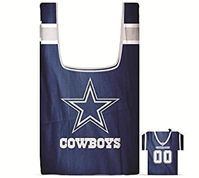 NFL Dallas Cowboys Eco Friendly Reusable Grocery Bags with Jersey Style Storage Pouch