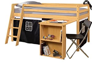 Cabin Bed with Desk in Pirate Design & Mattress ,PINE with Tent in PINE+MATTRESS