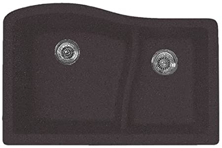 Swanstone QULS-3322.077 32-Inch by 21-Inch Undermount Large/Small Bowl Kitchen Sink, Nero