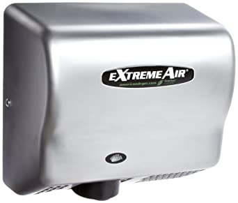 American Dryer ExtremeAir EXT7-C Steel Cover High-Speed Automatic Hand Dryer, 12-15 Second Dries, 100-240V, 540W Maximum Power, 50/60Hz, Satin Chrome Finish