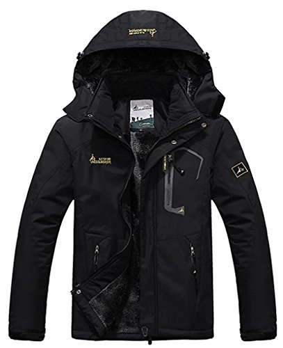 Zando Men Windproof Front Zip Mountain Hood Outdoor Fleece Ski Jacket Warm Coat (Black-thicker ver, US L) (Outdoor Leather Jacket compare prices)