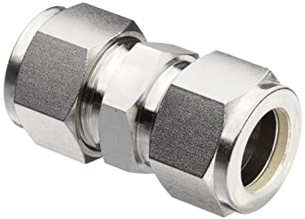 "Parker A-Lok 1SC1-316 316 Stainless Steel Compression Tube Fitting, Union, 1/16"" Tube OD"