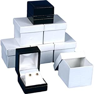 6 Earring Gift Boxes Black Leather Jewelry Case Display