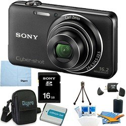 Sony Cyber-shot DSC-WX50 DSCWX50 WX50 16.2 MP Digital Camera with 5x Optical Zoom and 2.7-inch LCD (Black) with Sony 16GB Card, Spare Battery, Card Reader Digpro Case, Tabletop tripod, LCD Screen Protectors, Lens Cleaner+ More!