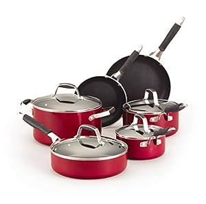Guy Fieri 5099783 10-Piece Nonstick Cookware Set, Red