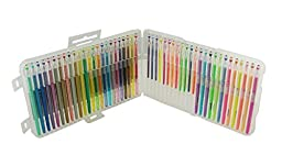 Lanxivi Premium Gel Color Pens 48 color Set /Glitter, Neon , Pastel & Metallic for Scrapbooks, sketch , Party Invites with Pens Pouch (48)