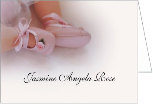 Rose Booties Baptism Christening Thank You Cards - Set Of 20 front-987585