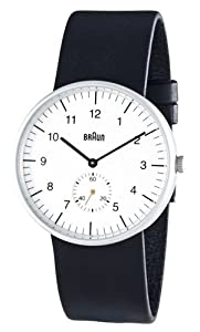 Braun Men's Analog Wrist Watch, White Face 38 mm