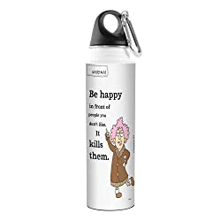 Tree-Free Greetings VB47877 Aunty Acid Artful Traveler Stainless Steel Water Bottle, 18-Ounce, Be Happy