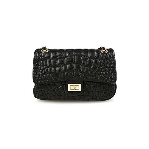 dearwyw-women-genuine-cowhide-leather-unbalanced-quilted-pattern-cross-body-shoulder-bag-black