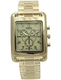 Clear Nacre Dial Triple Crown Chronograph Diver Style Silver Stainless Steel Actress Women Watch