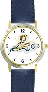 Boy Soccer Player No.2 Soccer or Fussball Theme - WATCHBUDDY® DELUXE TWO-TONE THEME WATCH - Arabic Numbers - Blue Leather Strap-Children's Size-Small ( Boy's Size & Girl's Size )