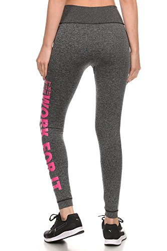 Womens Activewear Sport Fitness Yoga Leggings Pants with Side Wording Graphic Print Pink S/M