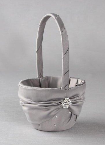 Raebella Weddings Sparkling Celebrations Crystal Keepsake Flower Girl Basket In Platinum (Silver / Grey)Matte Satin front-922006