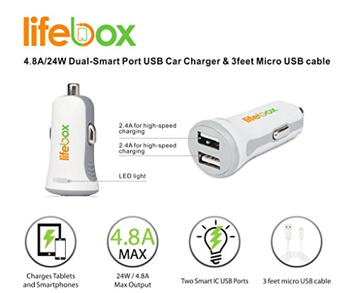 lifebox 4 8 amp dual usb car charger for apple and android