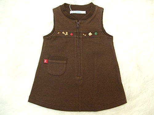 ファミリア familiar ファミちゃん × どんぐり 刺繍 ジャンパースカート 茶 (ブラウン)/ 女の子 70cm ワンピース キッズ 子供