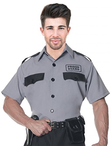 Costume Adventure Men's Authentic Looking Prison Guard Costume Shirt With Patch