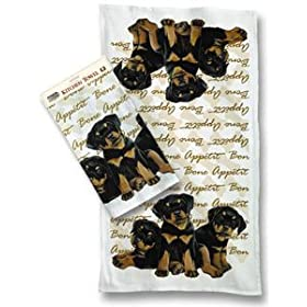 Rottweiler Puppies Kitchen Towels Set