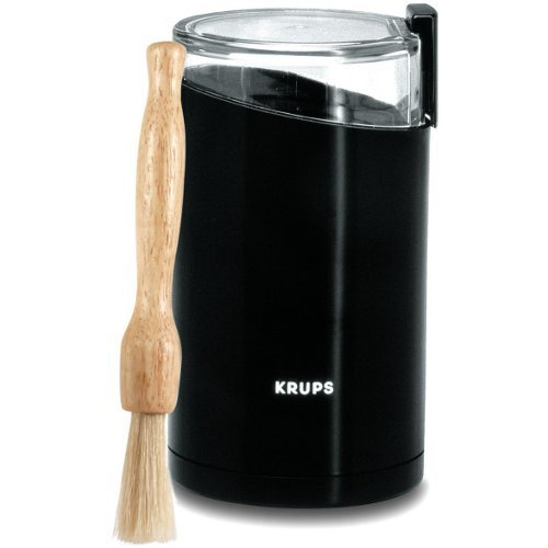 Krups Black Fast Touch Oval Electric Spice and Coffee Grinder with Free Cleaning Brush