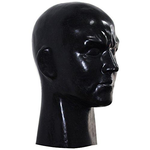 [EXLATEX Latex Rubber Hood Full Head Face Cosplay Fetish Beauty Mask with Zipper (Male, Black)] (Costume Wonder Woman Ebay)