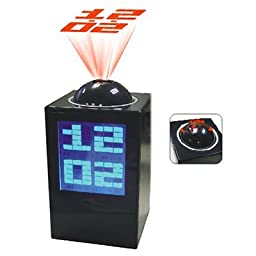 HDE® LED Black Projection Alarm Clock with LCD Temperature Display