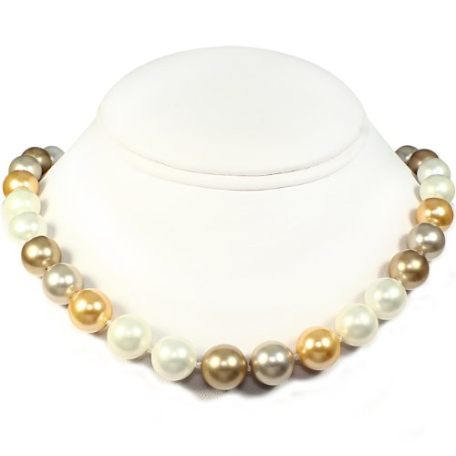 Mother of Pearl Necklace - High Polished White, Bronze, Platinum & Bright Gold (12mm)
