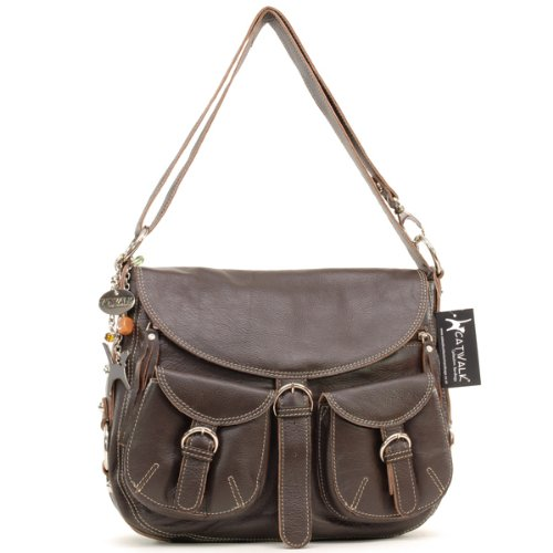 Catwalk Collection Big Leather Cross-Body Bag - Dark Brown