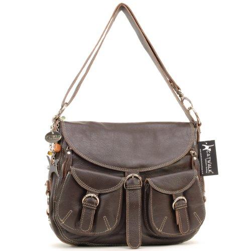 Catwalk Collection Big Leather Cross-Body Bag - Dark Brown