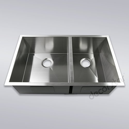Decor Star H-003-Z 33 Inch x 20 Inch Undermount Offset Double Bowl 16 Gauge Stainless Steel Luxury Handmade Kitchen Sink Zero Radius