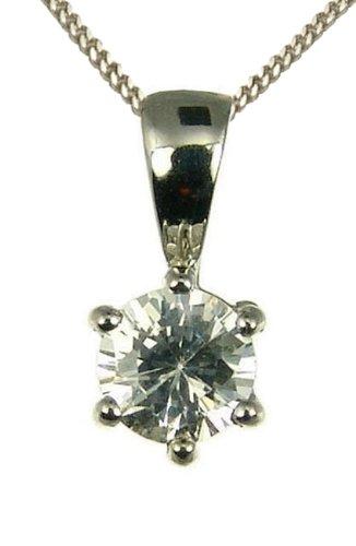 9ct White Gold Ladies' 1/2 Carat Solitaire 6 Claw Diamond Pendant 46cm Curb