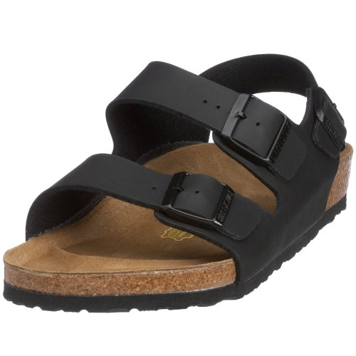Birkenstock Milano - Sandali unisex - adulto, Nero (Black Leather upper), 44 (Normale)