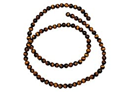 5mm Honey Brown Marble Ball Bead Strand (92 Piece)