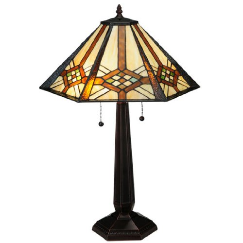 """Meyda Home Indoor Decorative Lighting Accessories 26""""H Crosshairs Mission Table Lamp"""