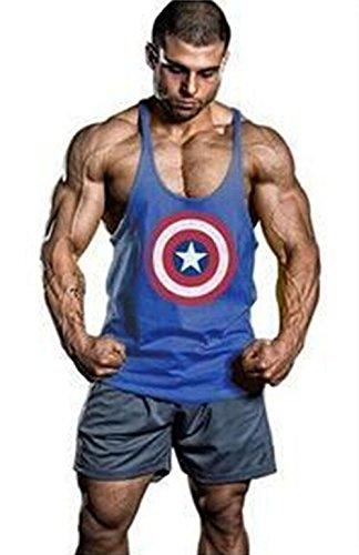 Gillbro Uomo stampati Canottiere Cotone Stringer Bodybuilding Gym canotte,E,M