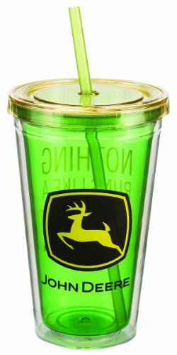 Vandor 28051 John Deere 18 Oz Acrylic Travel Cup With Lid And Straw, Mulitcolor