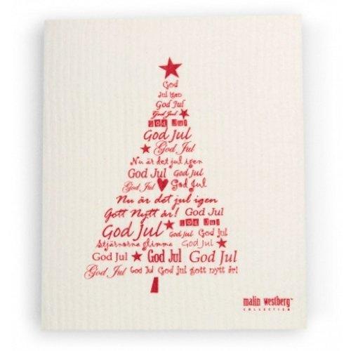 Swedish Dishcloth, Set Of 2 Red Christmas Trees