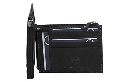 Portafoglio uomo SERGIO TACCHINI nero in pelle tasca porta carte con zip A5238