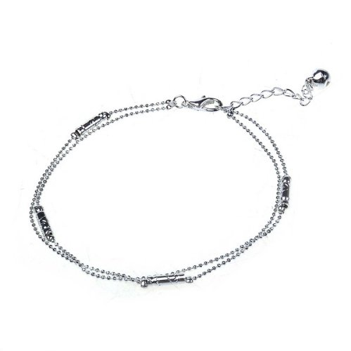 BestDealUSA Fashion 925 Silver Personality Bracelet Double Chain for Ladies Girls