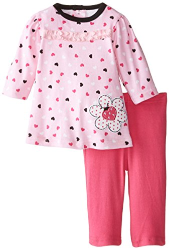BON BEBE Baby-Girls Newborn Hearts with Ladybug 2 Piece Dress Set with Leggings