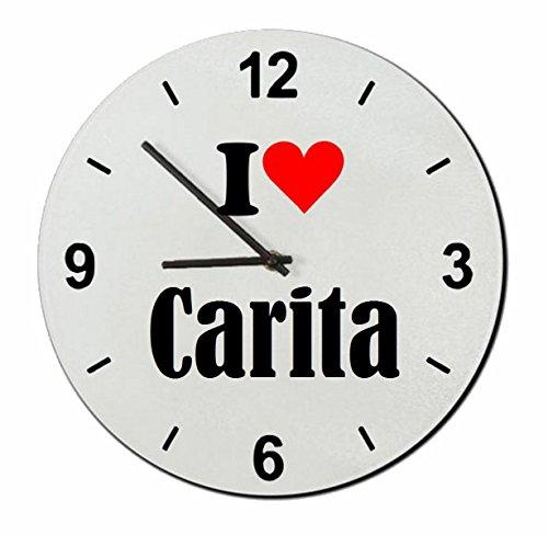 """ESCLUSIVO: Orologio Vetro """"I Love Carita"""" una grande idea regalo per il vostro partner, colleghi e molti altri! - Regalo di Pasqua, Pasqua, orologio, orologio, Regaluhr, regalo, Made in Germany."""