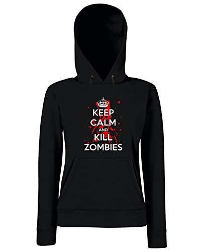 Cotton Island - Felpa Donna Cappuccio TZOM0040 keep calm and kill zombies (3), Taglia S