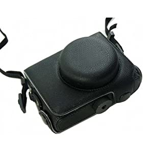 Aubig Black Leather Camera Case Bag Pouch Case with Strap for Olympus XZ1 XZ-1