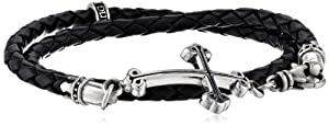 King Baby Thin Braided Leather Traditional Cross Double Wrap Bracelet, 16.50""