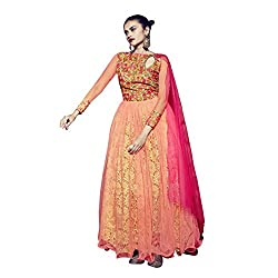 Aagaman Admirable Orange Colored Embroidered Net Georgette Gown 204 M