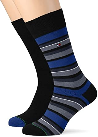 Tommy Hilfiger - Chaussettes Homme TH MEN VARIATION STRIPE SOCK 2P - Bleu (turkish sea) - FR : 43-46 (Taille fabricant : 43/46)