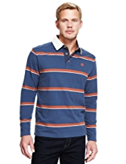 Blue Harbour Pure Cotton Tipped Striped Rugby Shirt